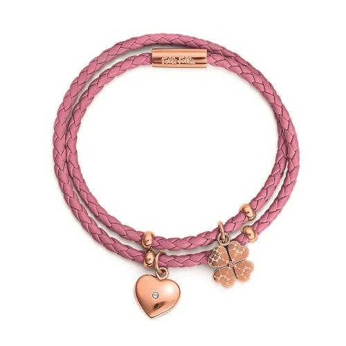 Folli Follie Heart4Heart系列甜心吊飾手環 (紫紅色)