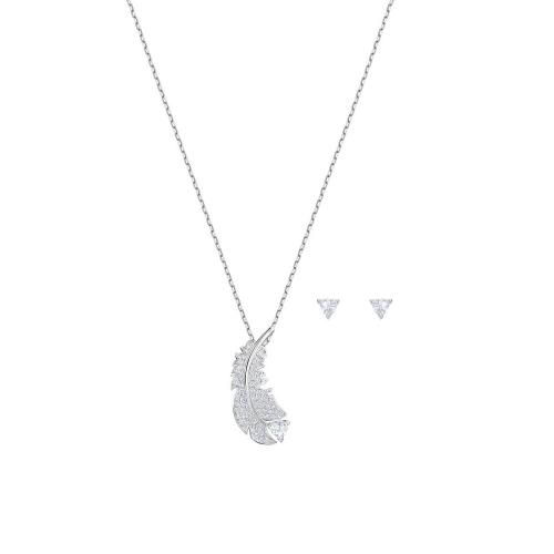 施華洛世水晶羽毛項鍊耳環組