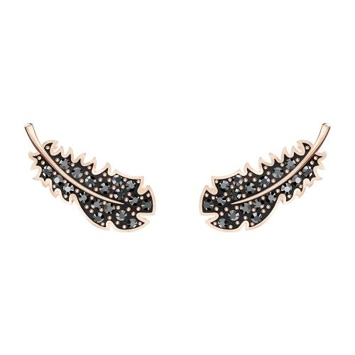 施華洛世奇黑色羽毛造型水晶耳環