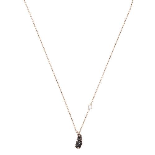 施華洛世奇黑色水晶羽毛項鍊