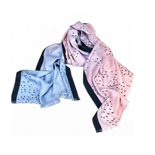 PASHMA 永續再生喀什米爾羊毛藍粉色披肩