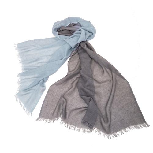 PASHMA 喀什米爾羊毛藍灰色漸層披肩
