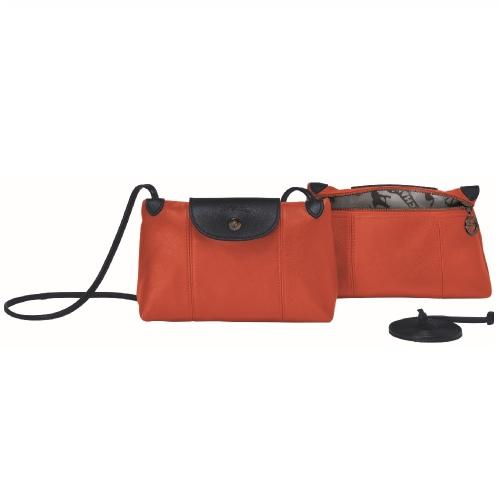 (特價品) Longchamp LE PLIAGE CUIR系列斜肩包-楓紅/藏青色
