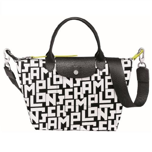 (特價品) Longchamp LE PLIAGE LGP系列黑白字母短把小型手提包