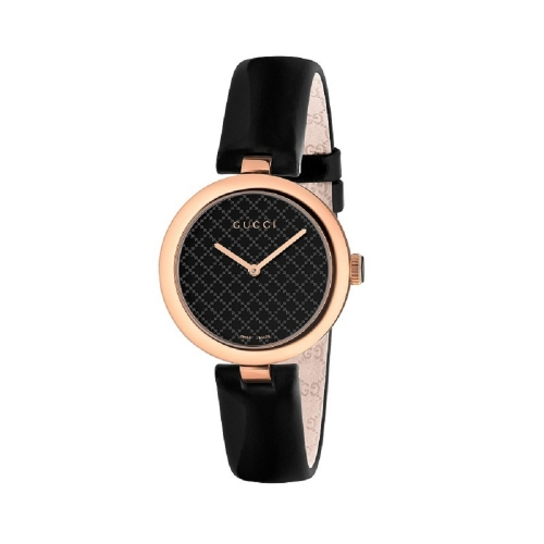 (福利品) Gucci Diamantissima菱形圖案黑色腕錶_32mm