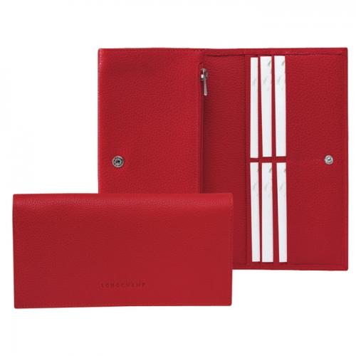 Longchamp 時尚錢包 (暗紅色)