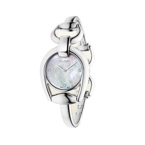 (特價品) GUCCI HORSEBIT 白色珍珠母貝腕錶_28mm